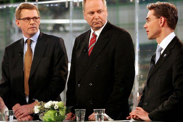 Vuonna 2007 Matti Vanhanen, Eero Heinäluoma ja Jyrki Katainen kohtasivat eduskuntavaaleissa. Jos Sauli Niinistö ei enää lähde ehdolle, saattavat he kohdata ensi vuoden presidentinvaaleissa.