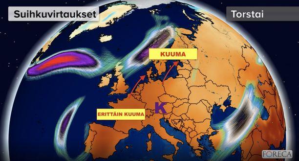Forecan kuvassa näkyy lähestyvä kuumuus. Ainakin eteläisemmässä Euroopassa voidaan päästä jopa 40 asteeseen.