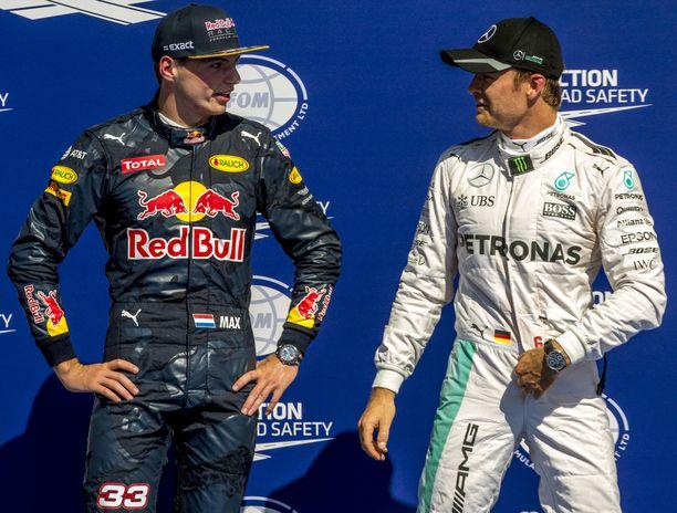 Max Verstappen ja Nico Rosberg  ajoivat formula ykkösissä samaan aikaan vuodet 2015-16. Rosberg lopetti uransa maailmanmestarina kauteen 2016.