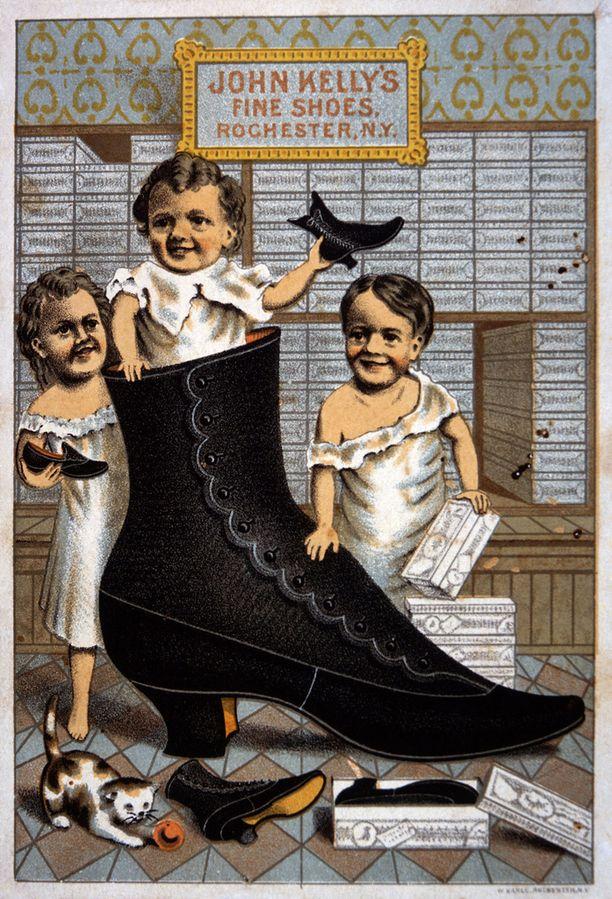 John Kelly's Fine Shoes -kortti 1880-luvulta.