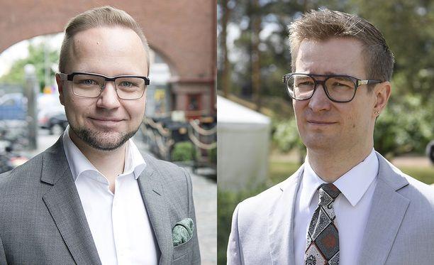 Olli-Poika Parviainen (vasemmalla) ja Oras Tynkkynen eivät ole käytettävissä vihreiden puheenjohtajaksi.