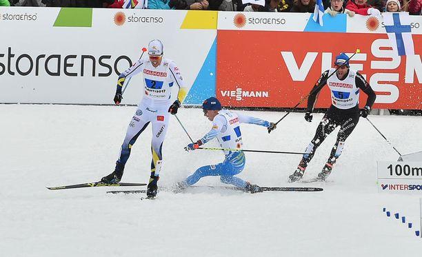 Matti Heikkinen kaatui loppusuoralla.