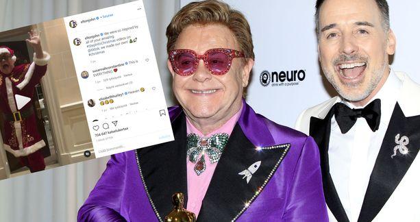Elton John ja David Furnish lapsineen ovat joulutunnelmissa tuoreella videolla.