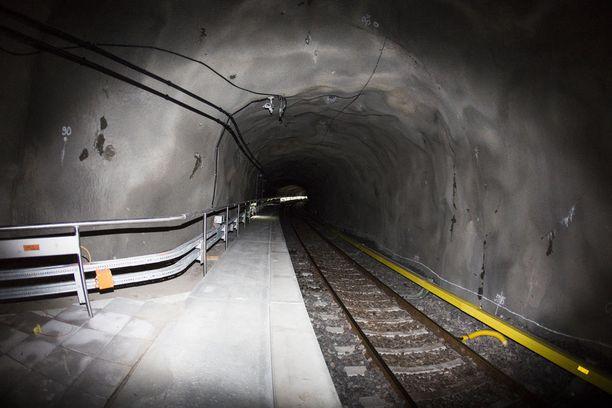 Länsimetron metrotunneli kuvattuna joulukuussa 2016.
