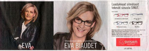 LASIT TEKEVÄT VALTUUTETUN? Vähemmistövaltuutettu, sisäministeriön virkamies Eva Biaudet mainostaa optikkoketjun mainoskampanjassa silmälaseja. Mainos löytyi eilen esimerkiksi Aamulehdestä.