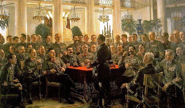 Aleksandr Gerasimovin maalaus vuodelta 1937 kuvaa Stalinia sotakomentajiensa kanssa. Puhujan roolissa tiettävästi Lev Mehlis.