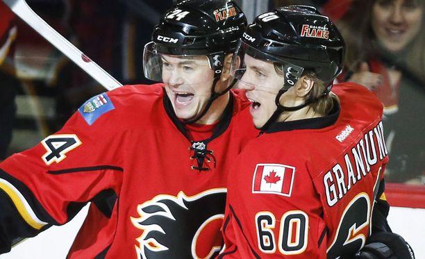 Markus Granlund (oik.) on tehnyt tällä kaudella Calgaryn paidassa 13 tehopistettä.