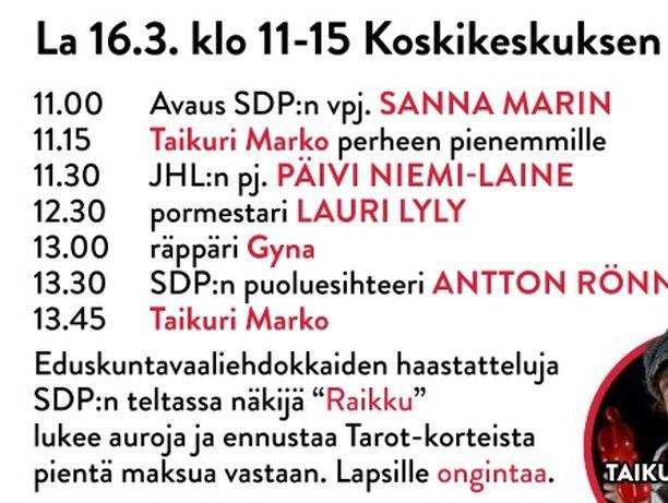 Sdp:n vaalitilaisuuden ilmoitus Aamulehdessä perjantaina 15.3.