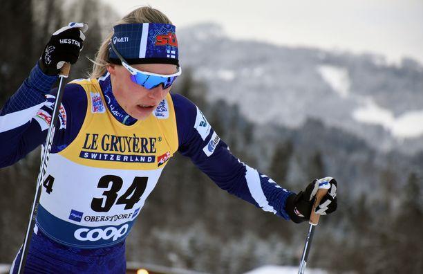 Anne Kyllösen vapaan hiihto ei torstaina Alppien juurella sujunut parhaalla mahdollisella tavalla.