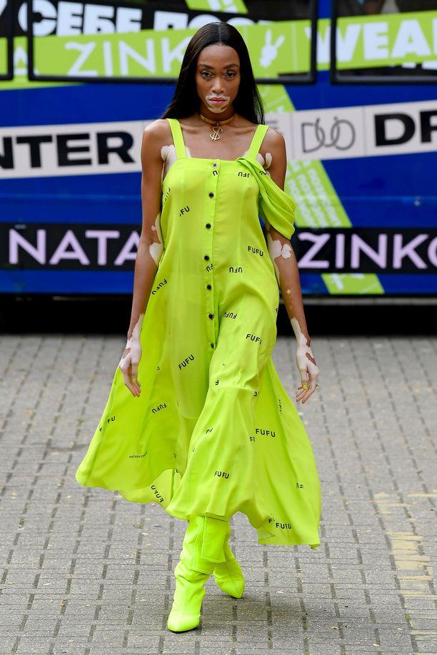 Winnie Harlow on the catwalk