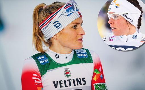 """Therese Johaug yllätettiin törkeällä alusvaatekysymyksellä - ruotsalaistähti paljastaa nyt, mitä MM-kisoissa tapahtui: """"Minä aivan säpsähdin"""""""