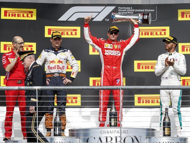 Kimi Räikkönen palasi voittokantaan lokakuun lopulla USA:n GP:ssä. Voitto oli Räikköselle F1-uran 21:s.