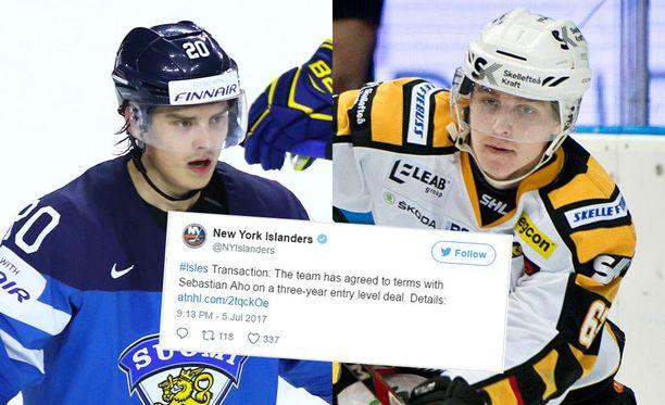 Suomen Sebastian Aho (vas.) saa täysnimikaimansa NHL-kaukaloihin.