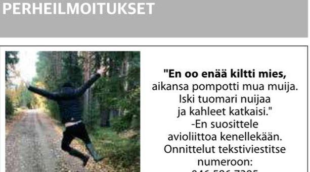 Keskisuomalaisessa julkaistu ilmoitus.
