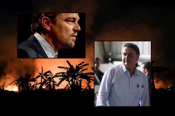 Näyttelijä Leonardo DiCaprio (vas.) on joutunut Brasilian presidentti Jair Bolsonaron (oik.) syytteiden kohteeksi. Taustalla metsäpalo syyskuussa Porto Velhon kaupungin alueella.