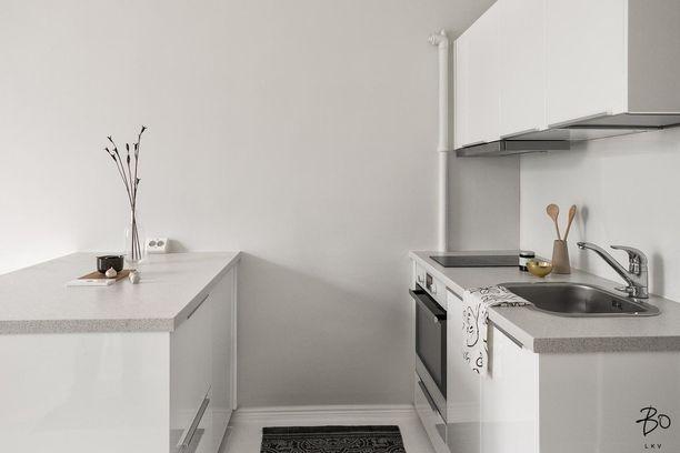 Saareke on tässä minikeittiössä välttämätön lasku- ja säilytystilan takia. Hyvin minimalistista keittiötä on maustettu pienillä yksityiskohdilla.