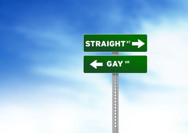 Joissain uskonyhteisöissä vallitseva käsitys näkyy kuvassa: homoseksuaalien tie ei vie samaan paikkaan kuin heteroiden.