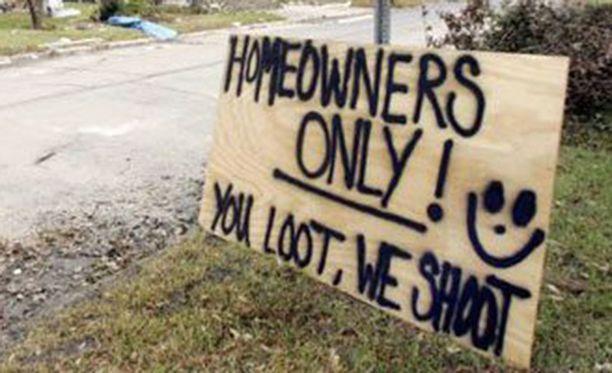 Vain kodinomistajat tervetulleita, muut ammutaan.