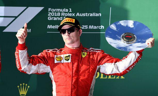 Kimi Räikkönen ajoi Melbournessa palkintopallille. Kilpailun voitti Räikkösen tallikaveri Sebastian Vettel ja toiseksi sijoittui Mercedeksen Lewis Hamilton.