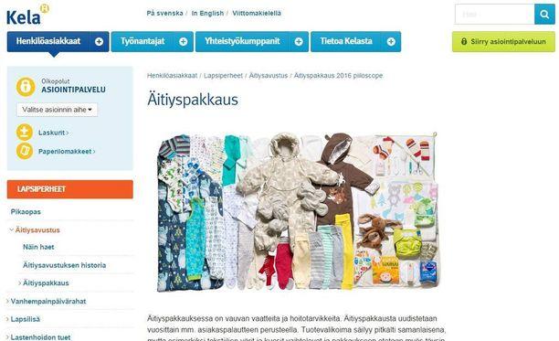 Kelan nettisivuilla olevat piilotetut kuvat vuoden 2016 äitiyspakkauksesta paljastuivat ennen aikojaan.