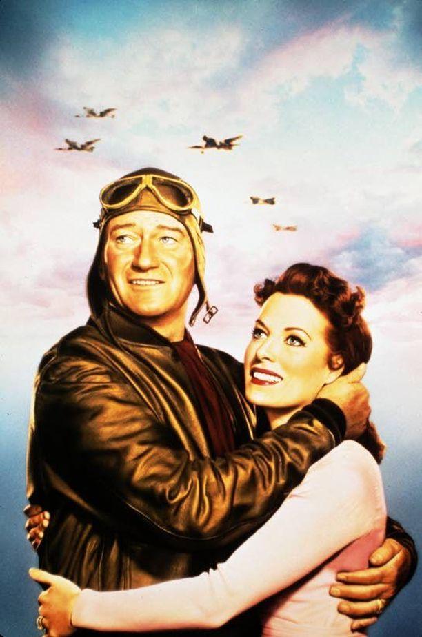 John Wayne ja Maureen O'Hara elokuvan Hurja mieheni (The Wings Of Eagles, 1957) julisteessa.