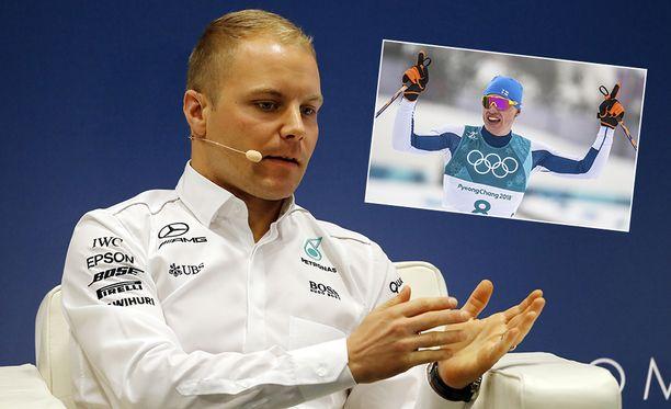 Valtteri Bottas ehti nähdä lopun Iivo Niskasen olympiakultahiihdosta.