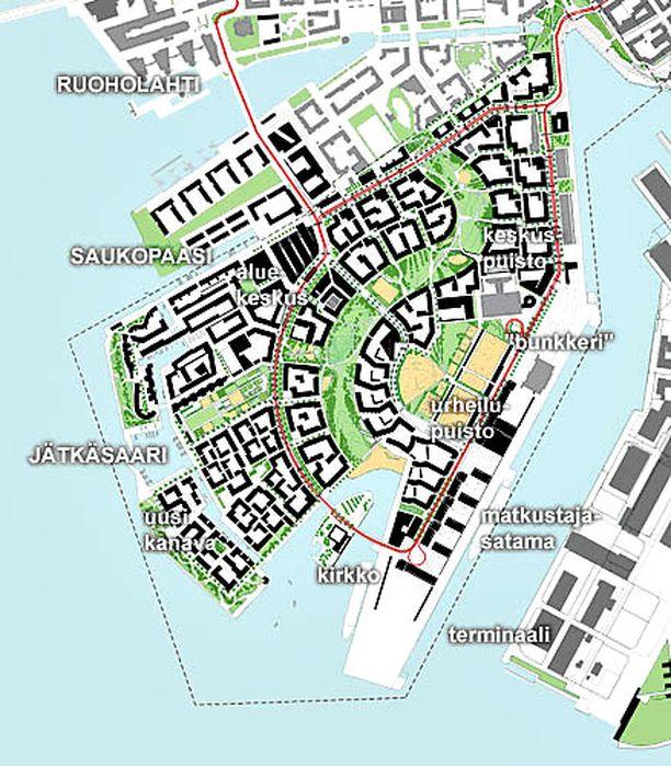 Jätkäsaareen on tarkoitus houkutella 16 000 asukasta. (Klikkaamalla saat kuvan suuremmaksi)