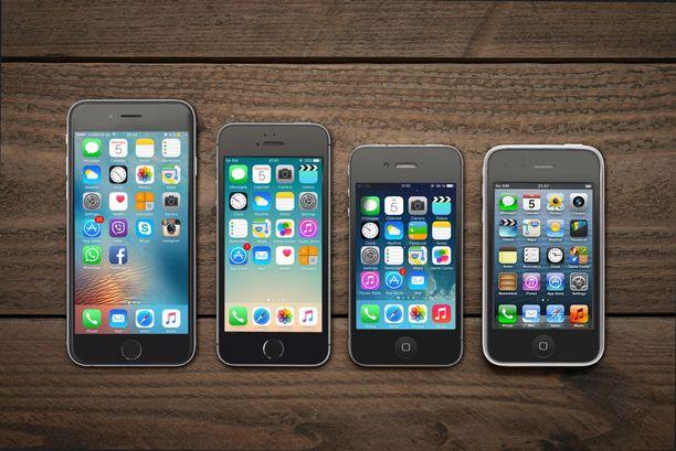 Iphone 6, 5s, 4 ja 3G. Koko on muuttunut jonkin verran.
