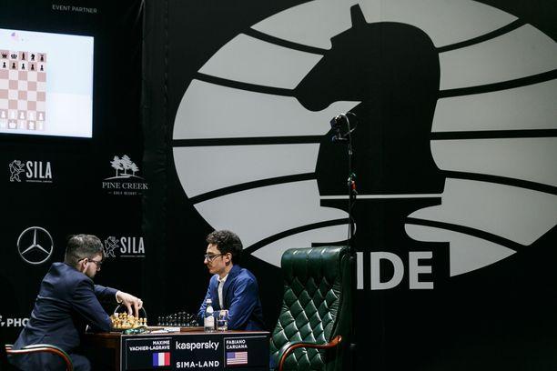 Jekaterinburgin MM-kandidaattiturnauksen voittaja saa vastaansa Magnus Carlsenin. Kuvassa vastakkain ovat Maxime Vachier-Lagrave ja Faniano Caruana.