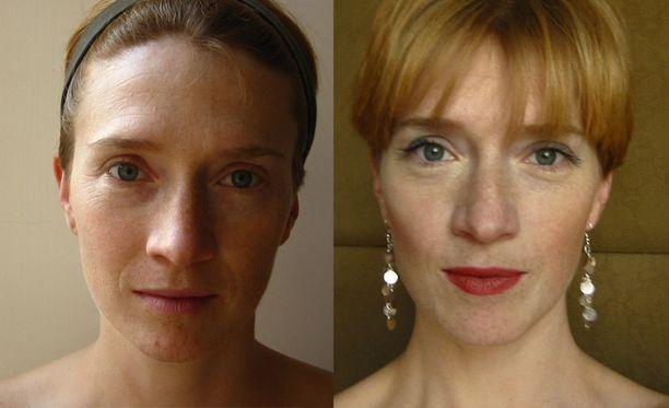 Phoebe meikittömänä ja laitettuna.