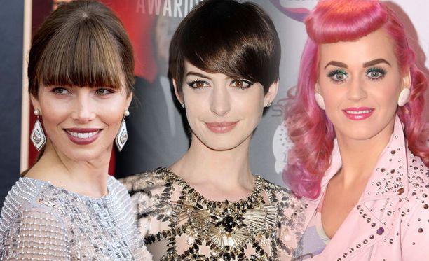 Jessica Biel, Anne Hathaway ja Katy Perry tietävät, että otsatukka tuo vaihtelua tyyliin.