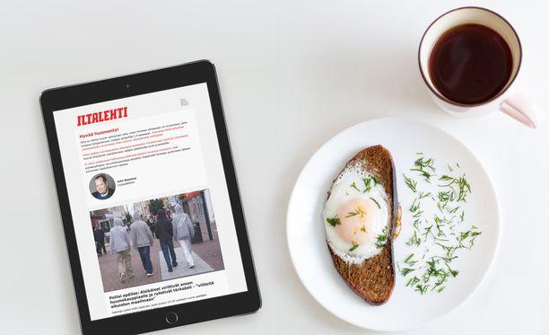 Uutiskirjettä voi lukea kätevästi vaikka aamiaispöydässä.