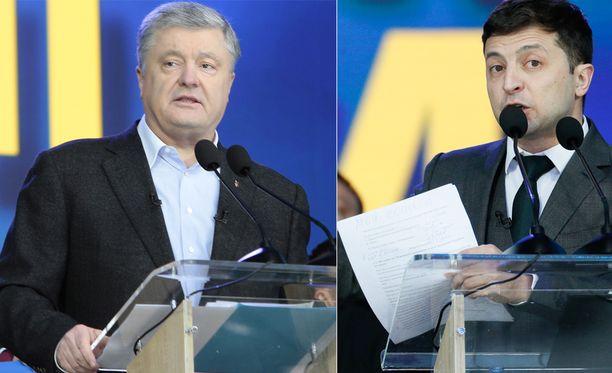 Sunnuntaina selviää, väistyykö Ukrainan istuva presidentti Petro Poroshenko (vas.) tv-näyttelijä Volodomir Zelenskiin (oik.) tieltä.