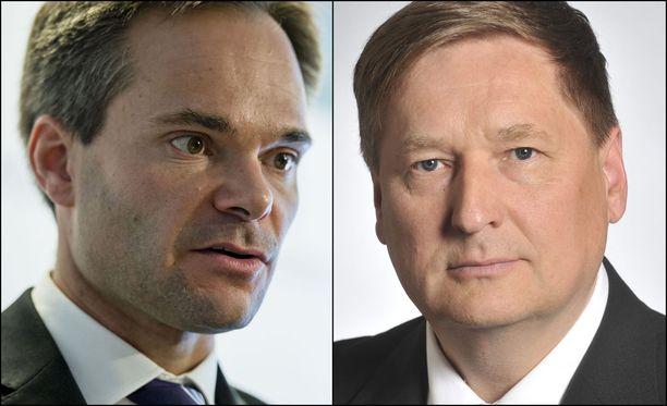 Kansanedustaja Markku Rossi (oik) on tehnyt kantelun sisäministeri Kai Mykkäsen toiminnasta Kriisinhallintakeskuksen siirtopäätöksen suhteen.