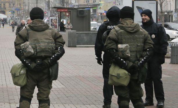 Ukrainan poliisin taktinen erikoisyksikkö KORD osallistui tulitaisteluun Kiovan lähellä. Kuvituskuva.