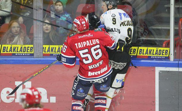 Jesse Puljujärvi loukkaantui tässä tilanteessa HIFK:ta vastaan.