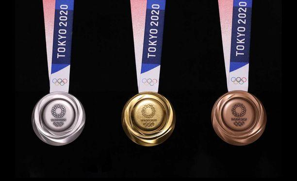 Mitalit on valmistettu kierrätysmetallista.