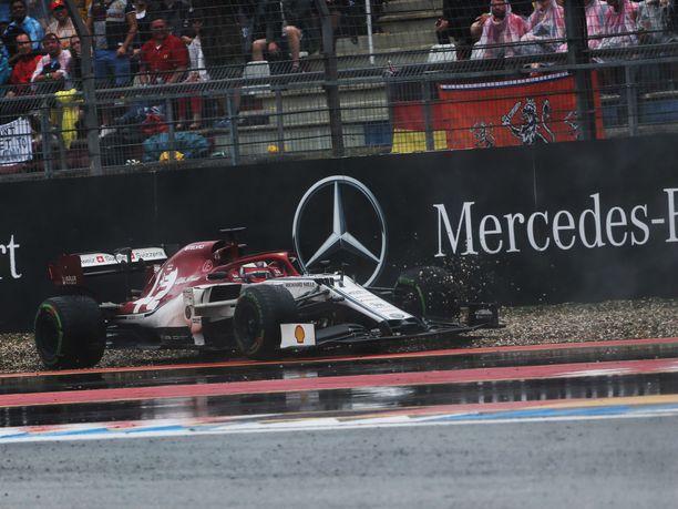 Kimi Räikkönenkin kynti soraa Saksan GP:ssä.