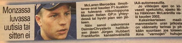 Kimin tulevaisuudella spekuloitiin tiiviisti tänä vuonna. Niin myös vuonna 2001.