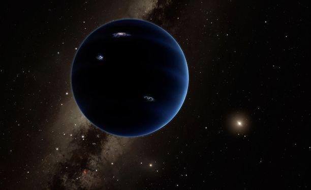"""Taiteilijan näkemys """"Planeetta Yhdeksästä"""". Tutkijoiden olettamasta planeetasta ei ole vielä tehty suoraa havaintoa."""