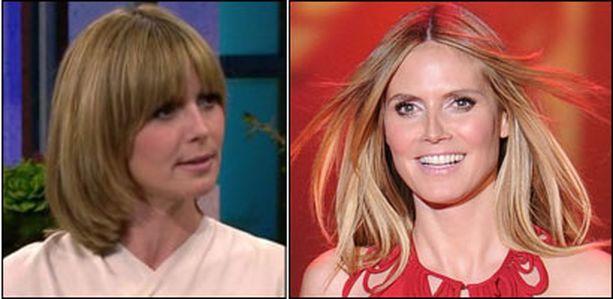 Heidi Klum nyt ja ennen hiusten leikkausta.