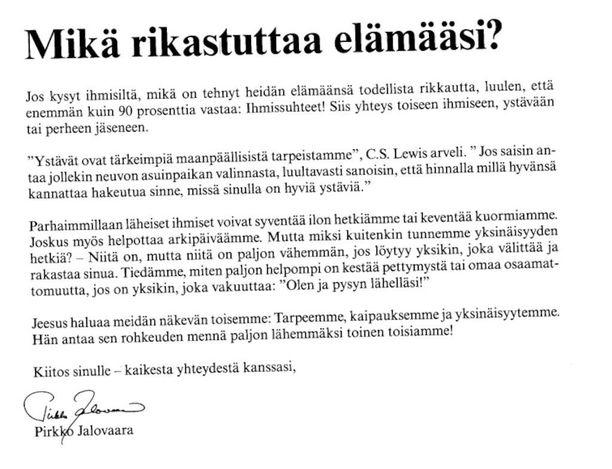 Rukousystävät-lehden ilmoitus vuodelta 2013. Kuvat saat isommiksi klikkaamalla kuvan päällä.