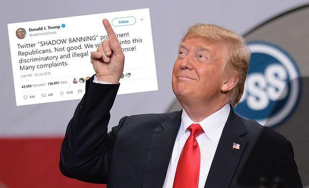 Trump läksyttää Twitteriä piilottelusta.