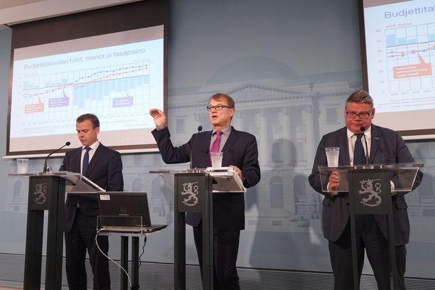 Valtiovarainministeri Petteri Orpo (kok), pääministeri Juha Sipilä (kesk) ja ulkoministeri Timo Soini (PS) kertoivat hallituksen budjettineuvotteluista syyskuussa 2016. VM:n talousennuste toimi budjettiesityksen pohjana. KUVA: JOHN PALMEN/IL.