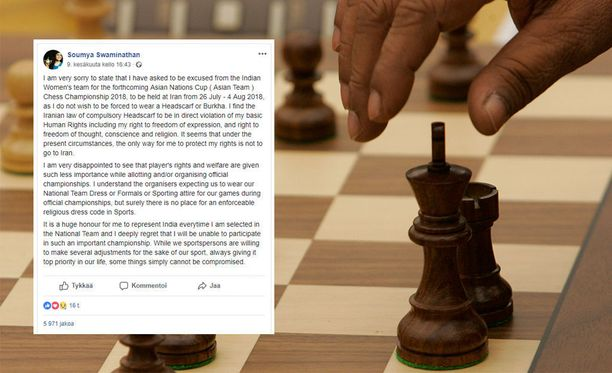 Intialainen shakkihai Soumya Swaminathan kieltäytyi osallistumassa kisoihin maassa, joka polkee hänen ihmisoikeuksiaan.