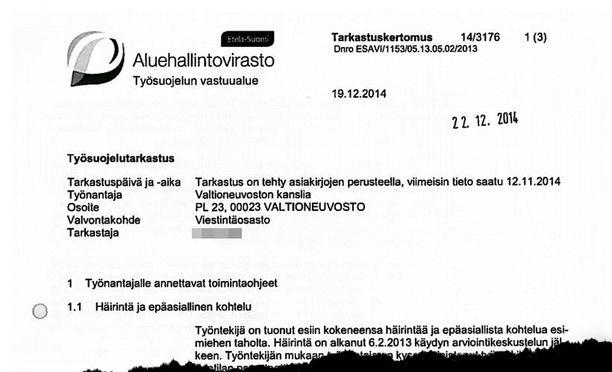 Aluehallintoviraston työsuojelun vastuualueen tarkastajan tuore tarkastuskertomus ei anna mairittelevaa kuvaa hengestä Kataisen kanslian sisällä.