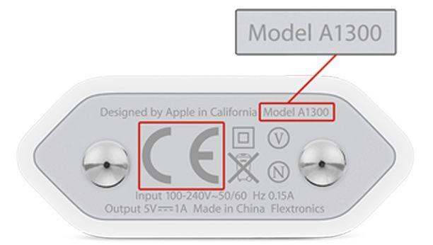 Viallisen laturin mallinumero on A1300.