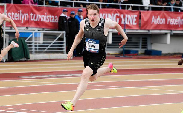 Vuonna 2000 syntynyt Samuel Purola on Euroopan nopein 100 ja 200 metrillä ikäluokassaan.
