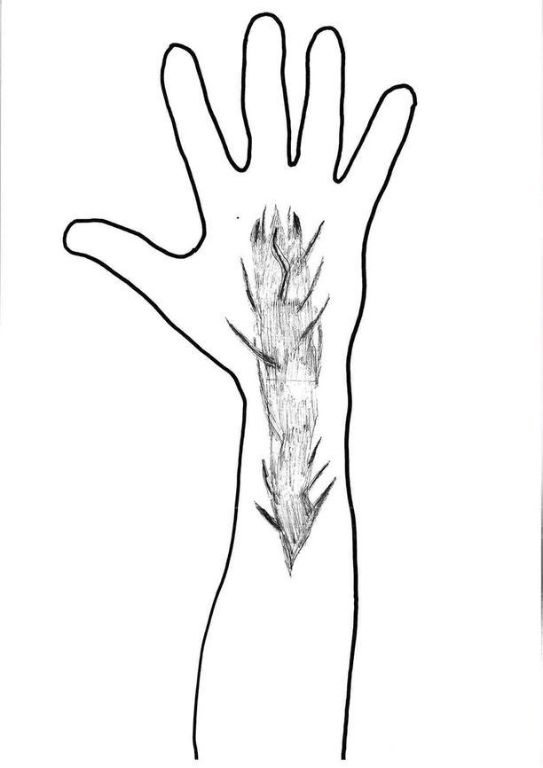 Lamminpään puukotuksen yrityksen uhri muistaa nähneensä tällaisen tatuoinnin tekijän kädessä.