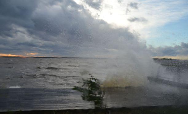 Kuva Valio-myrskystä Savosta Karttulasta järven rannasta.